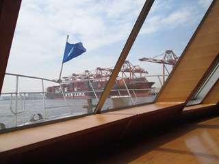 コンテナ埠頭 NYK LINEのコンテナ船とクレーン