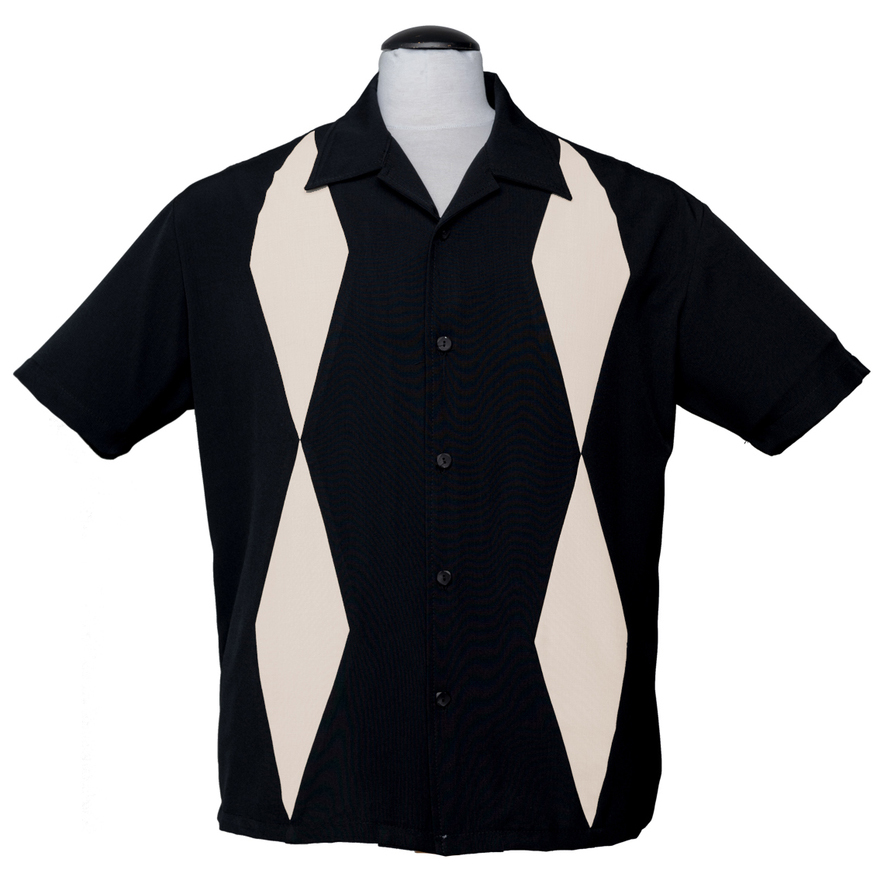 Diamond Duo Button Up Bowling Shirt by Steady Clothing - Black