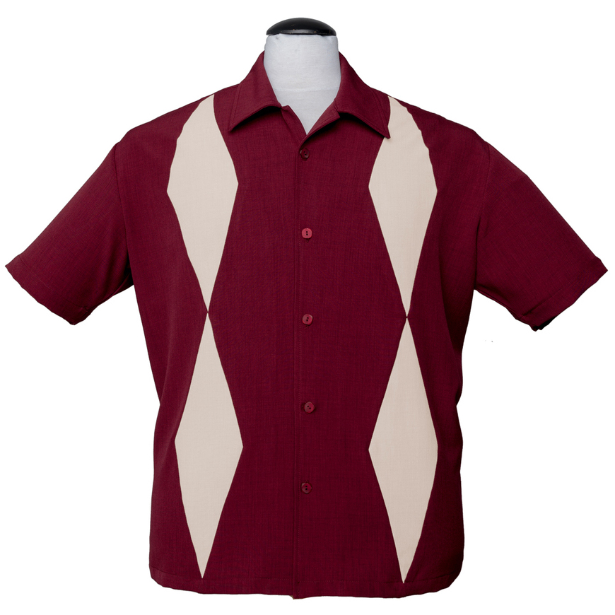 Diamond Duo Button Up Bowling Shirt by Steady Clothing - Burgundy