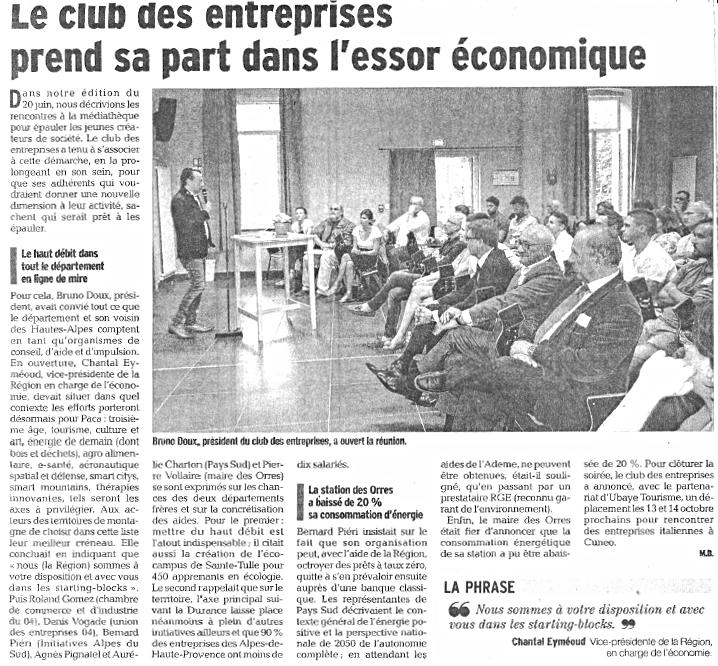 club entreprise ubaye article dauphiné 25 juin 2017