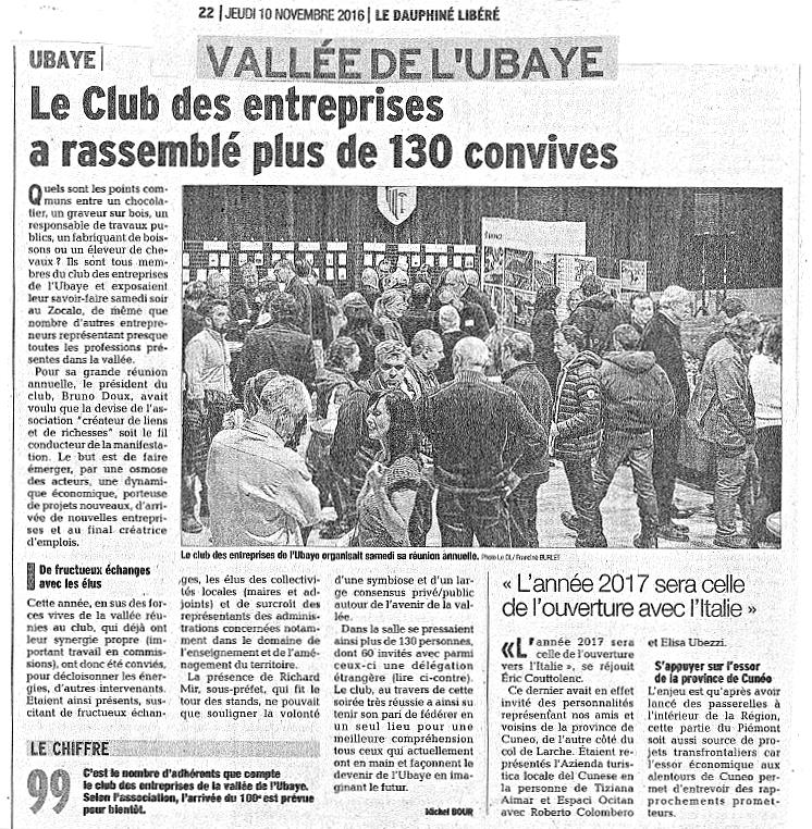 club entreprise ubaye article dauphiné 10 novembre 2016
