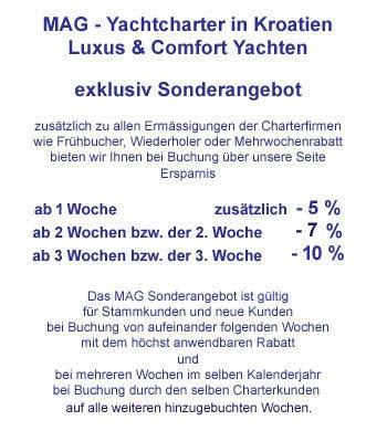 Sonderangebote & Wochenbonus Ychtcharter Motorboote Motoryachten Segelboote Segelyachten Kroatien Dalmatien