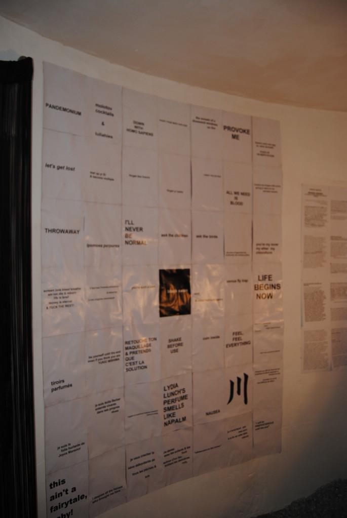 BLACK SWAN - SchizoPoP Manifesto - Panneau mural composé de 49 motifs - assemblés par un ouragan / Wall panel with 49 motifs pieced together by a hurricane – 2012 - Technique mixte / mixed media - 2,10 m x 1,60 m