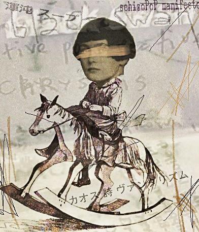 SchizoPoP Manifesto by Henrik Aeshna (Photomontage with the head of Jemima, the daughter of Arthur Cravan & Mina Loy)