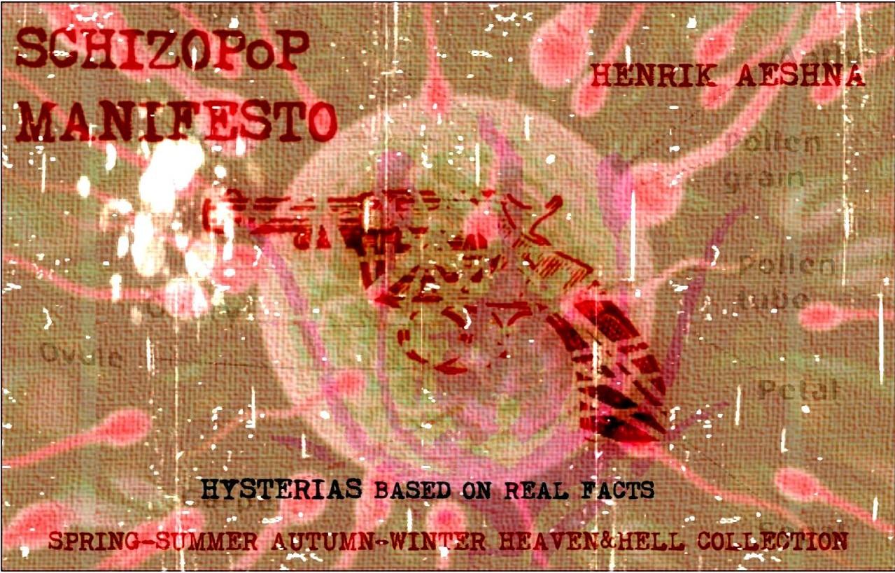 SCHIZOPoP MANIFESTO - Schizopoplets - Technique mixte / mixed media - Kaléidoscope aléatoire composé de fragments de la vie du créateur depuis son adolescence jusqu'aujourd'hui, assemblés par un ouragan : mash-ups, posters, photographies, dessins, collage