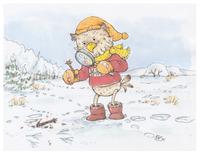 Unser Steinkauz-Maskottchen Fabian erforscht die Spuren im Schnee