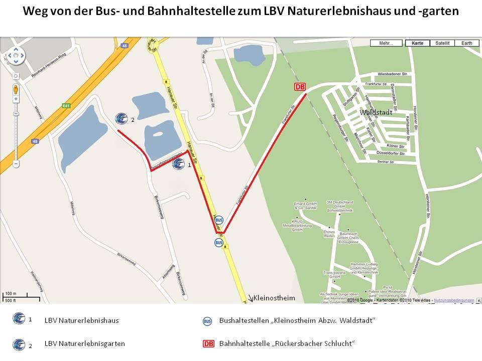 Fußweg von der Bus- und Bahnhaltestelle zur LBV Umweltstation Naturerlebnisgarten