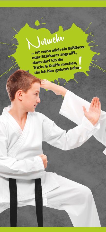 Banner Notwehr - Notwehr lernen wir in der Fachsportschule Kampf und Kunst Papenburg