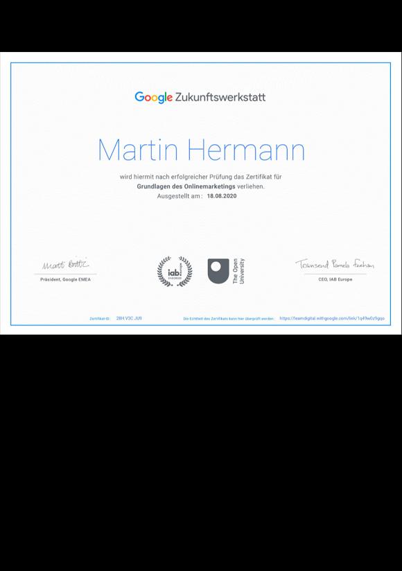 Diplom Google Zukunftswerkstatt