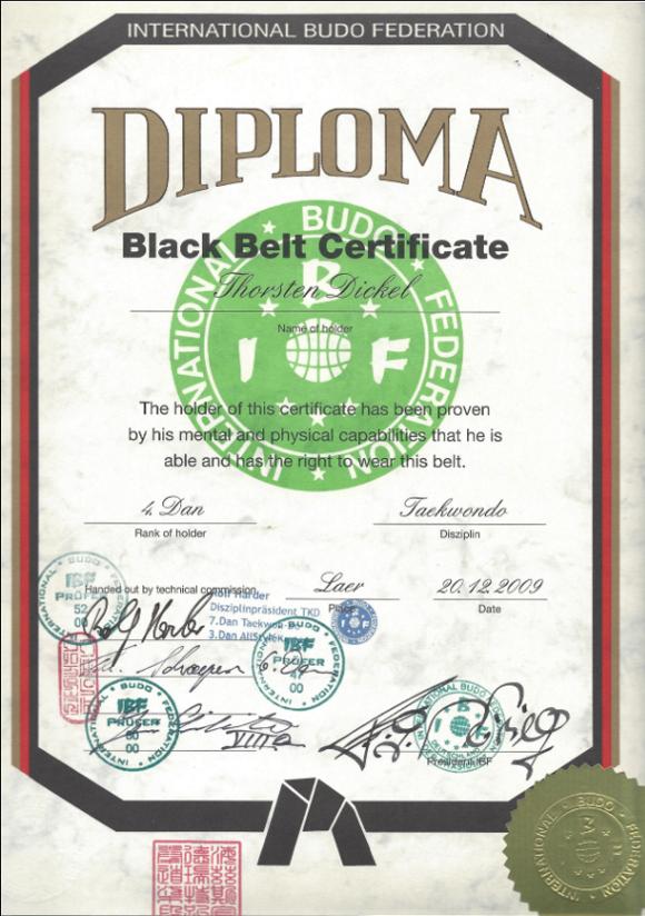 Diploma Schwarzgurt