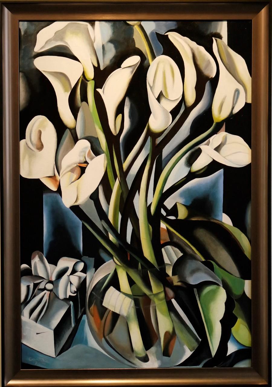 Calla Lillies, naar Tamara de Lempicka, olieverf op linnen, 60x90 cm.