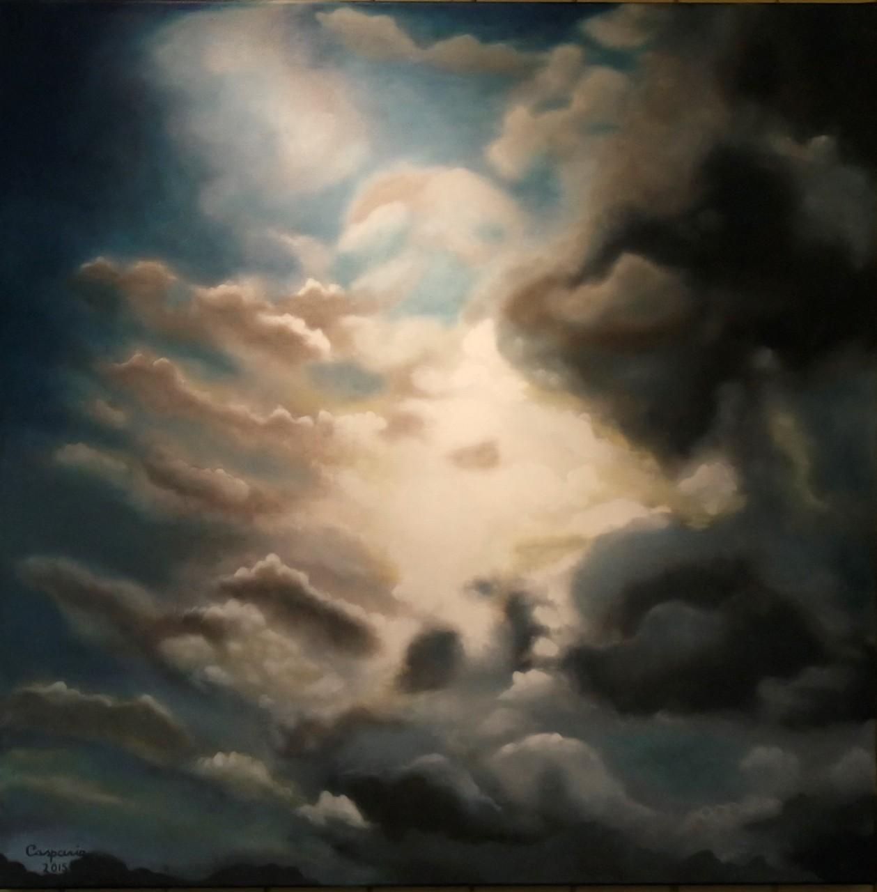 Wolkenlucht, olieverf op linnen, 100x100 cm.