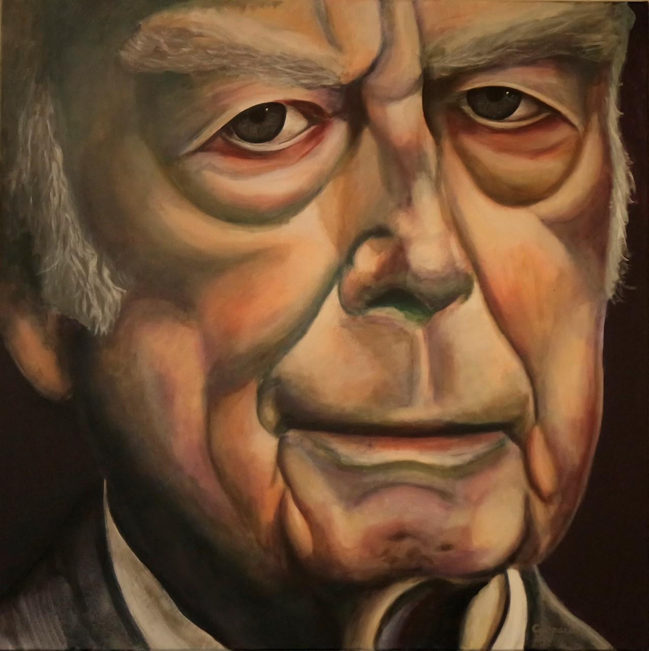Portret van een Man, acryll op linnen, 100x100 cm.