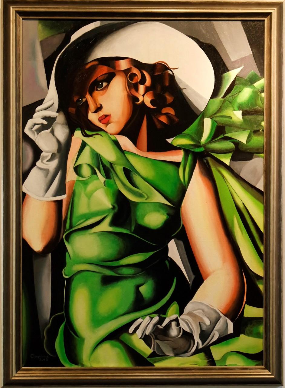 Young lady with gloves, naar Tamara de Lempicka, olieverf op linnen, 70x100 cm.