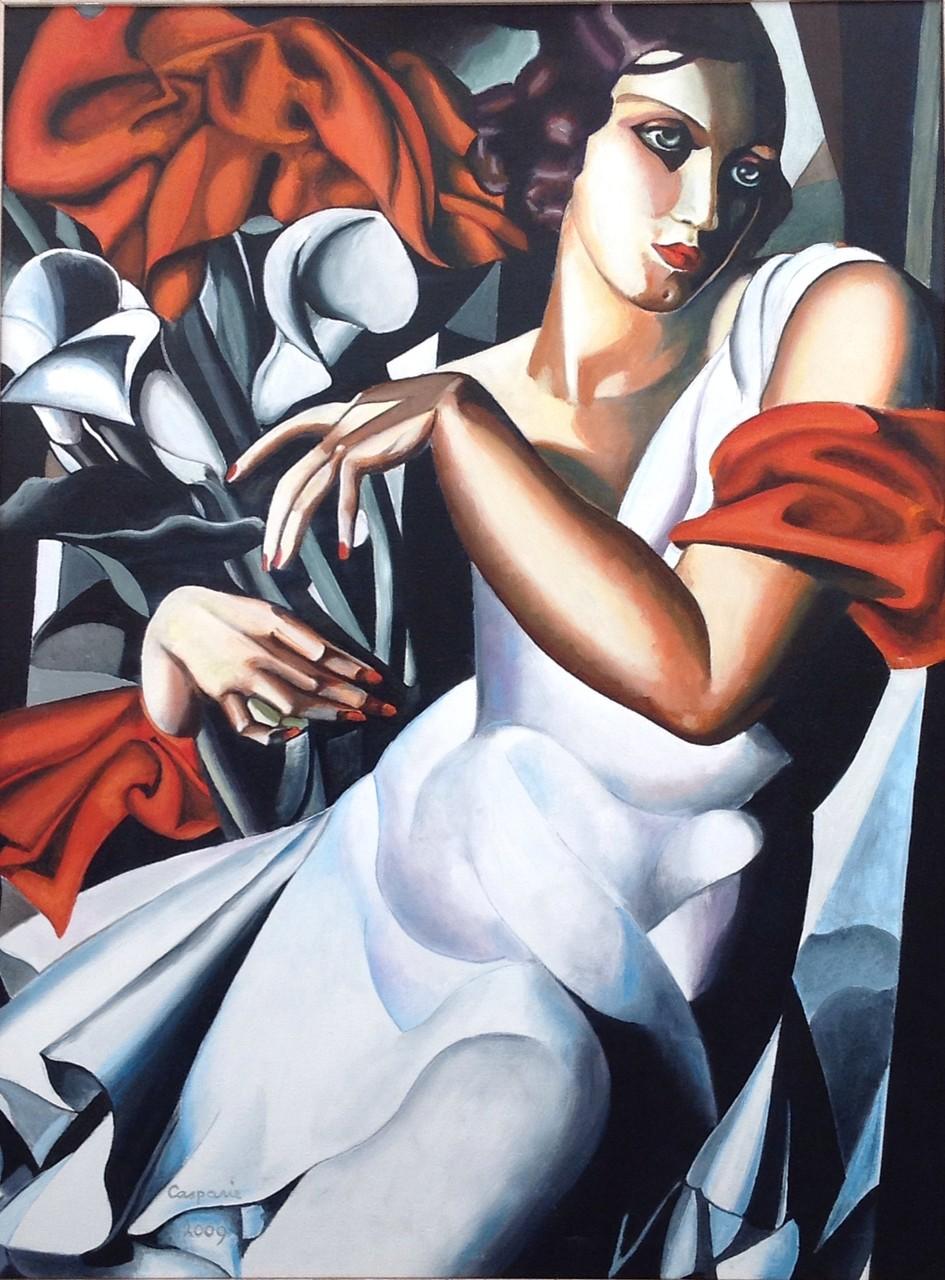 Madame Ira Perrot, naar Tamara de Lempicka, olieverf op linnen, 70x80 cm.