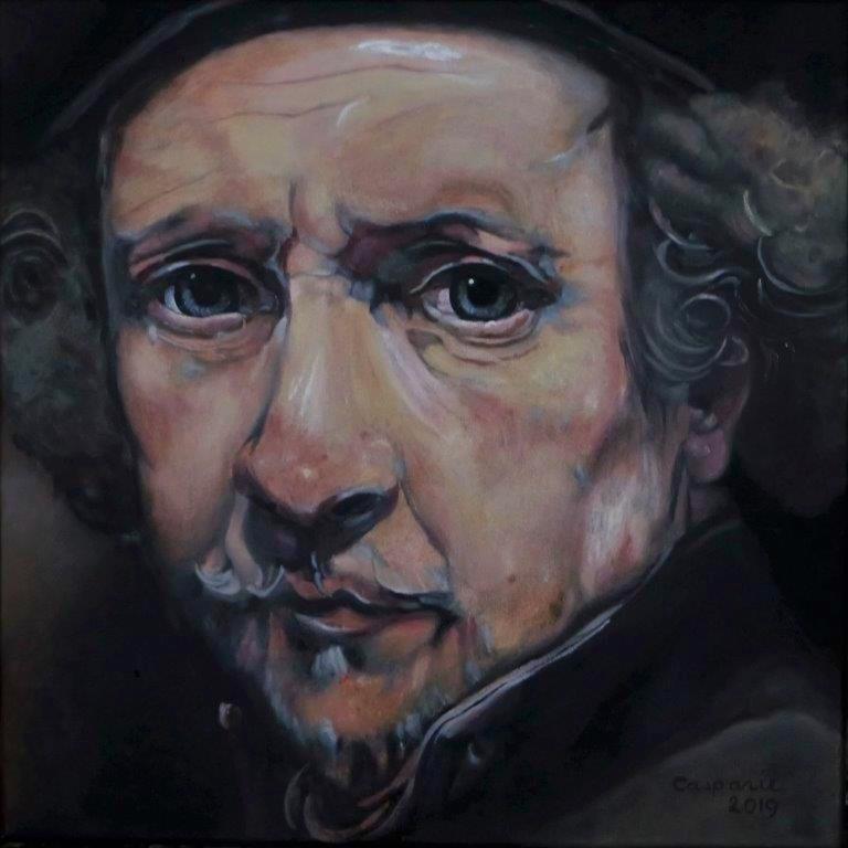Portret van Rembrandt, olieverf op linnen, 50 x 50 cm.