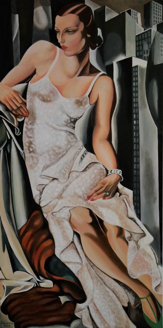 Mrs.Allan Bott, naar Tamara de Lempicka, olieverf op linnen, 60x120 cm.