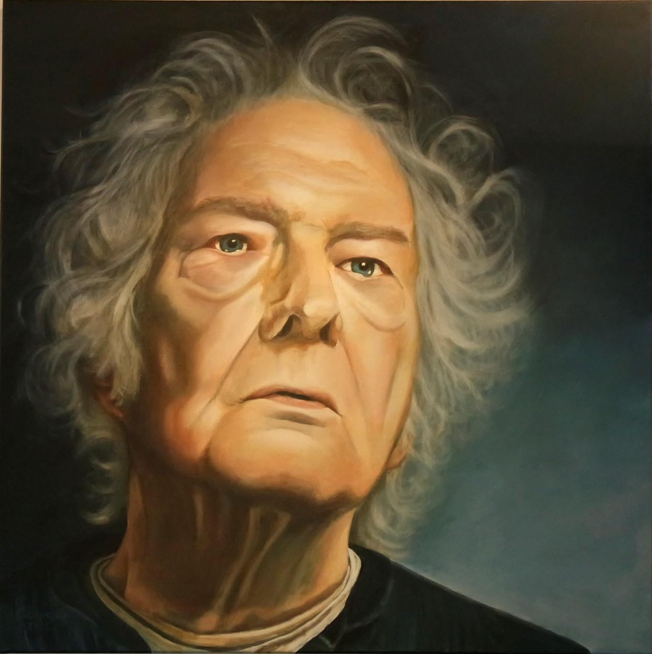 Jan Wolkers, acryll op linnen, 100x100 cm.