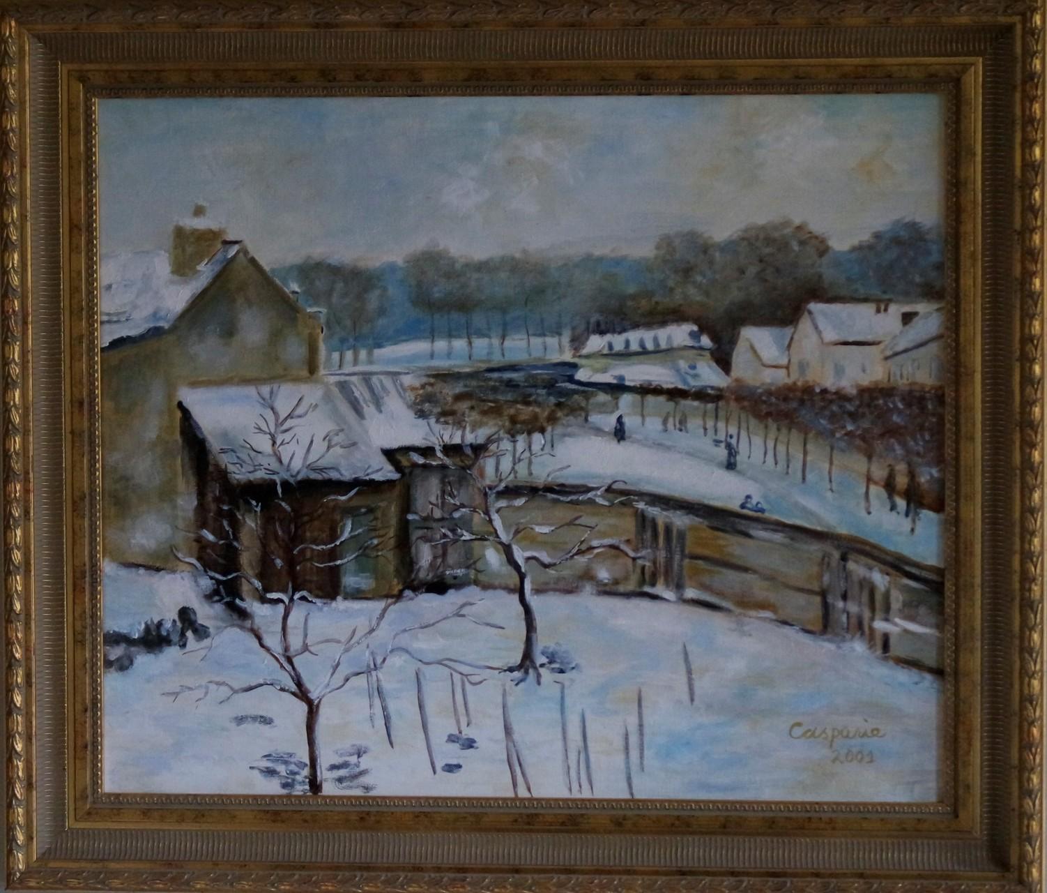 Sneeuweffect, naar Alfred Sisley, olieverf op linnen, 50x60 cm.