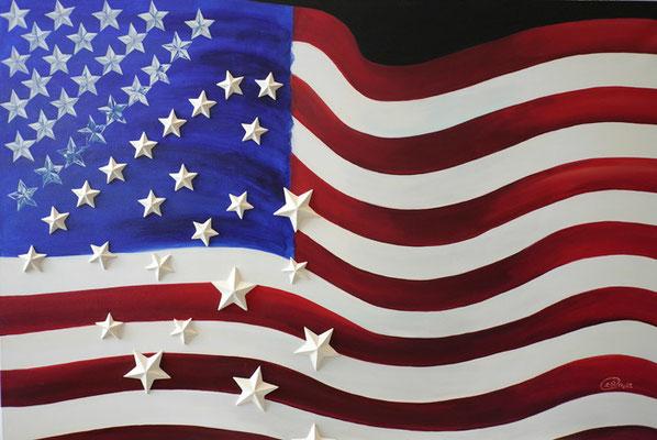 Falling stars and stripes, Acryl und Pappsterne auf Leinwand, Yuma, Gemälde von Yuma,