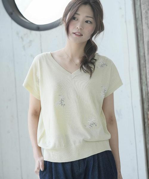2WAY花刺繍半袖ニットプルオーバー