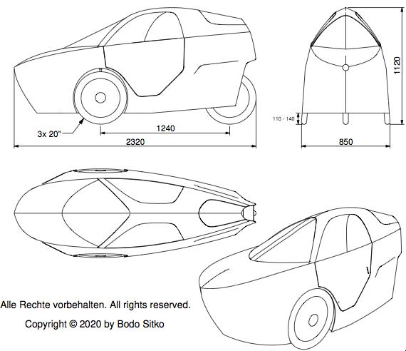 Main dimensions velomobile agilo