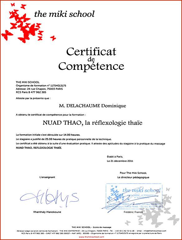 Certificat de Compétence : Nuad Thao Réflexologie Thaïe