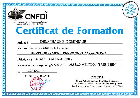 Certificat de Formation : Coaching 16,85/20 Mention TB