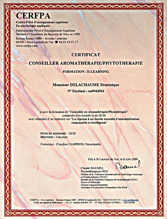 Mémoire : Conseiller en Aroma-Phytothérapie 18/20 Mention TB