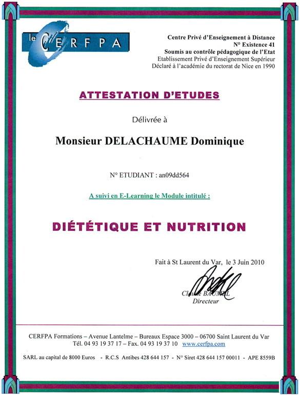 Attestation d'Etudes : Diététique et Nutrition