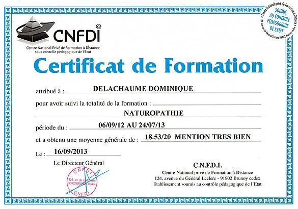 Certificat de Formation : Naturopathie 18,53/20 Mention TB