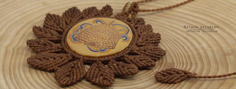 kp kitsch-paradise artisans créateurs création tissage macramé micromacramé couleur nature art collier ruche abeille foret feuille respect zen calm
