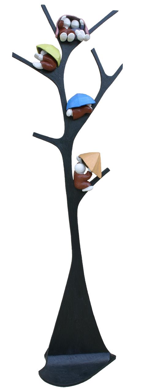 """""""L'arbre - l'averse"""" - sculpture en bois et résine - 242x70 cm"""
