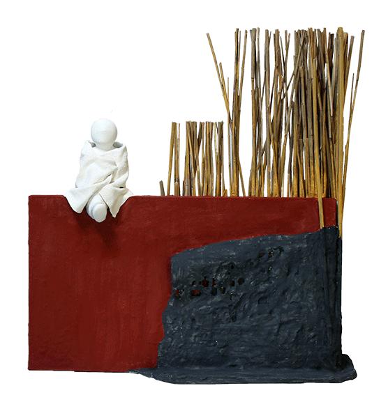 """""""Le mur"""" - sculpture en fibres végétales et poudre de pierre - 46x43x13 cm"""