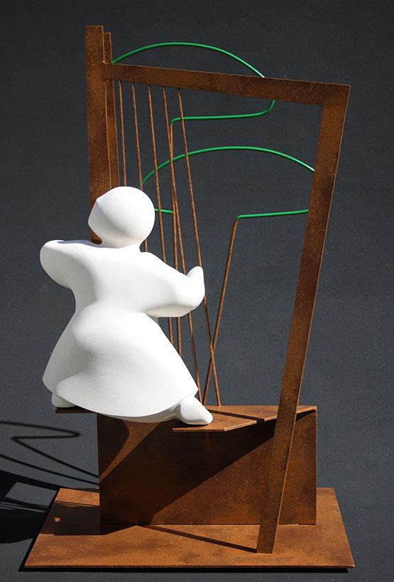 """""""L'échappée"""" - sculpture en pierre de Lens et métal - 76x46x29 cm"""