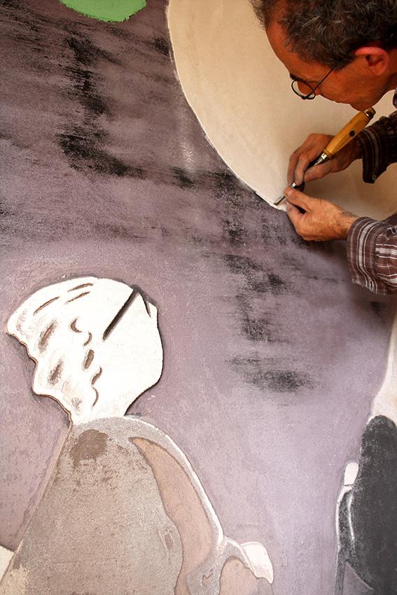 création et réalisation de sgraffito et peintures à la chaux sur commande