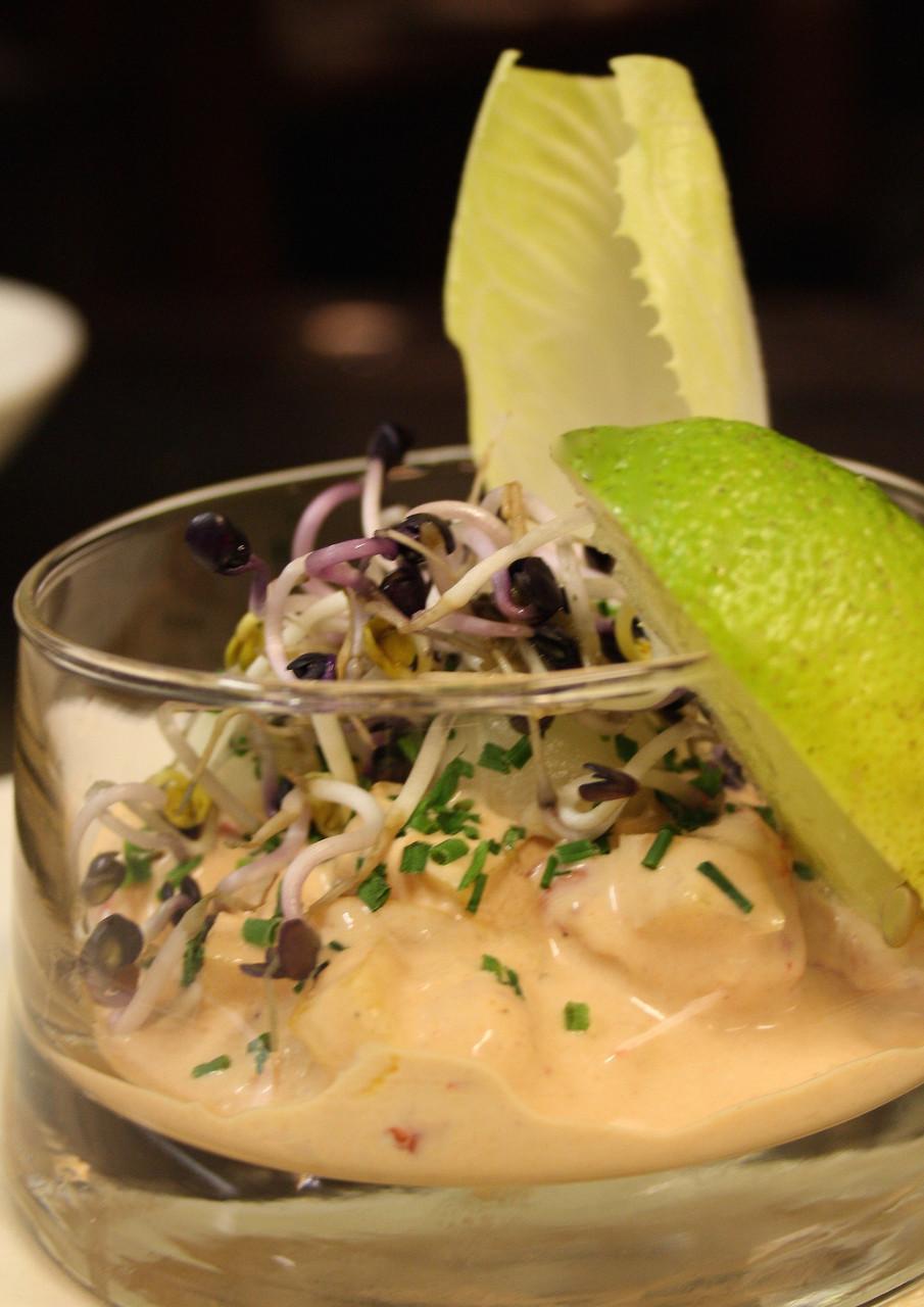 Cocktail von Flusskrebs und Melone