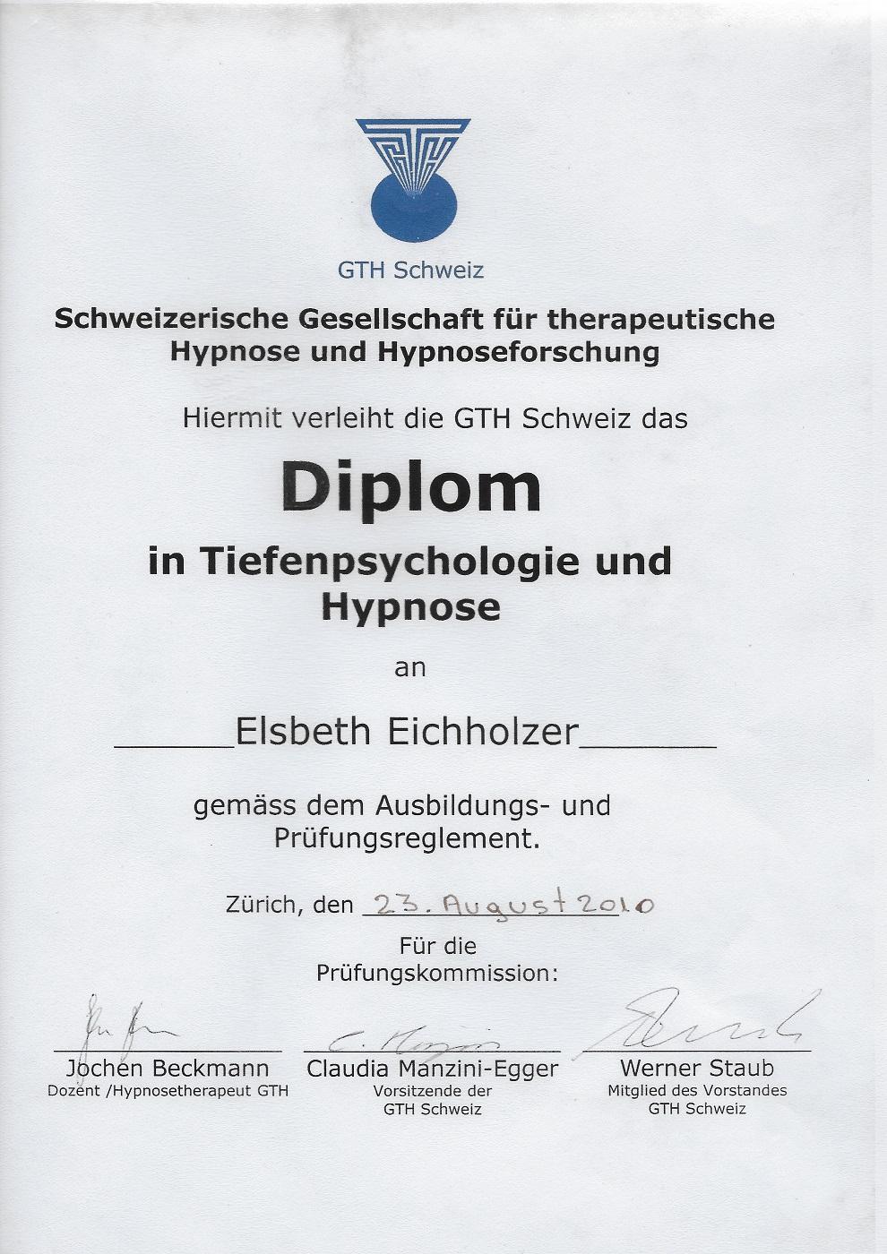 GTH-CH - Diplom in Tiefenpsychologie und Hypnose