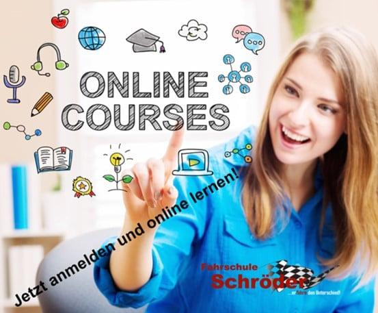 Jetzt an unseren Online-Kursen teilnehmen und die Theoriestunden bequem von Zuhause machen.