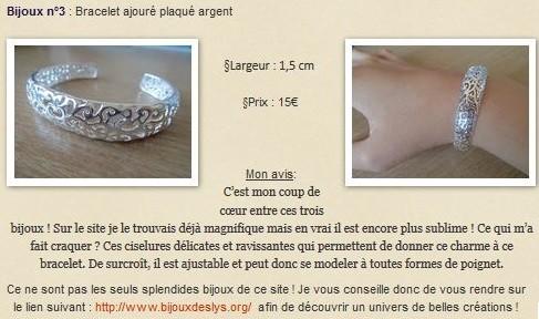Bracelet ajouré plaqué argent Bijoux des Lys