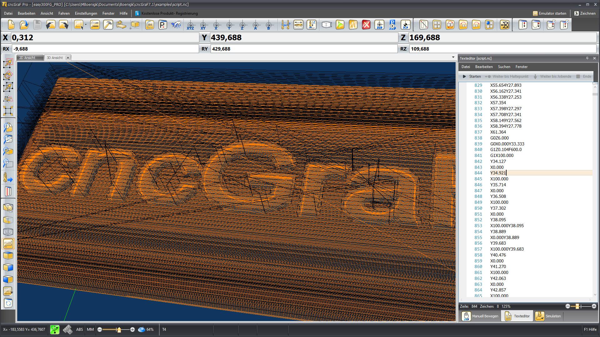 CNC Steuerungssoftware - cncGraF - 3D Ansicht