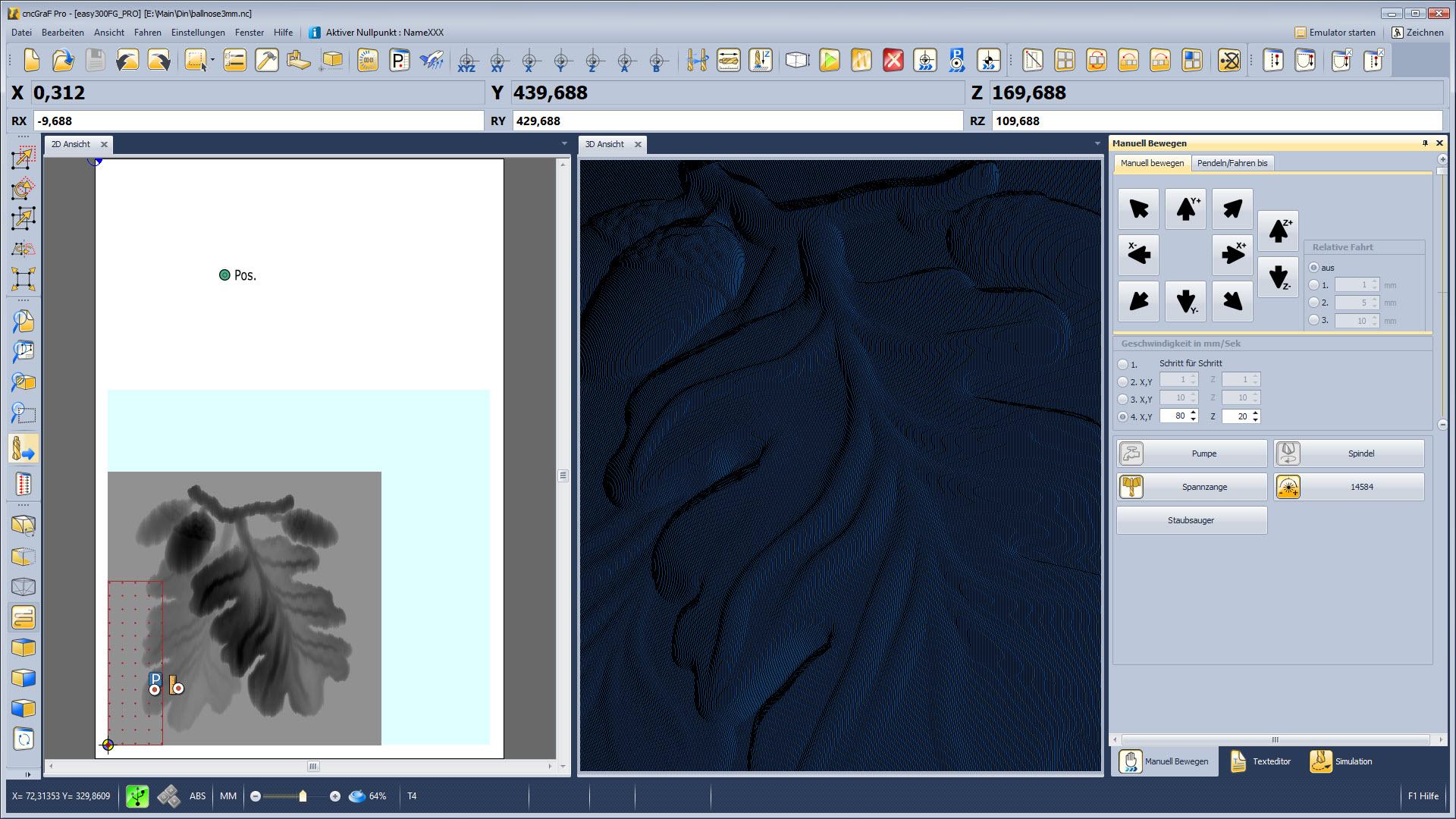 CNC Steuerungssoftware - cncGraF - verschiebbare Fenster