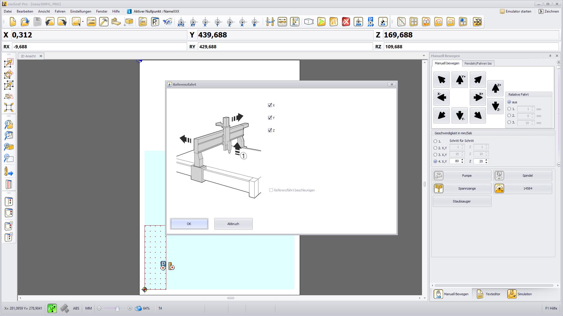 CNC Steuerungssoftware - cncGraF - Referenzfahrt