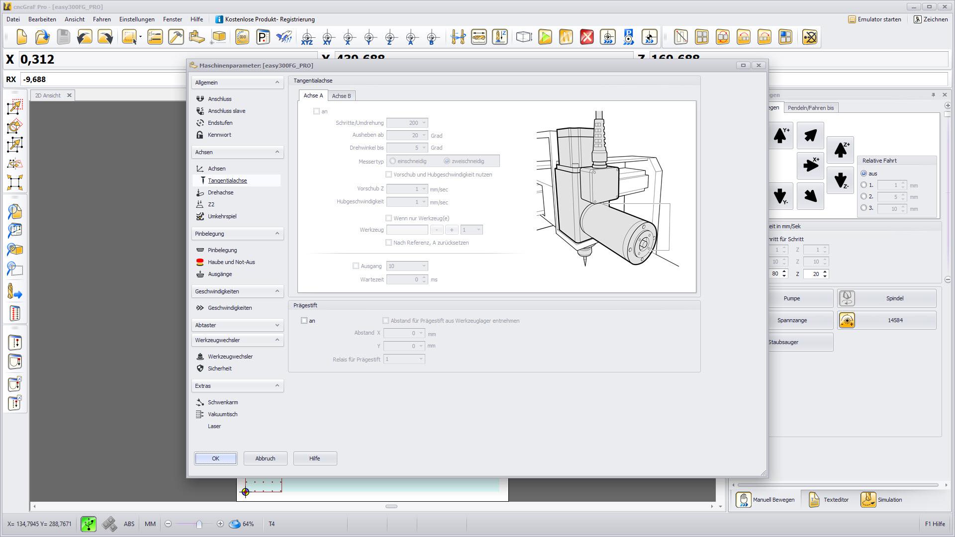 CNC Steuerungssoftware - cncGraF - Tangentialfunktion