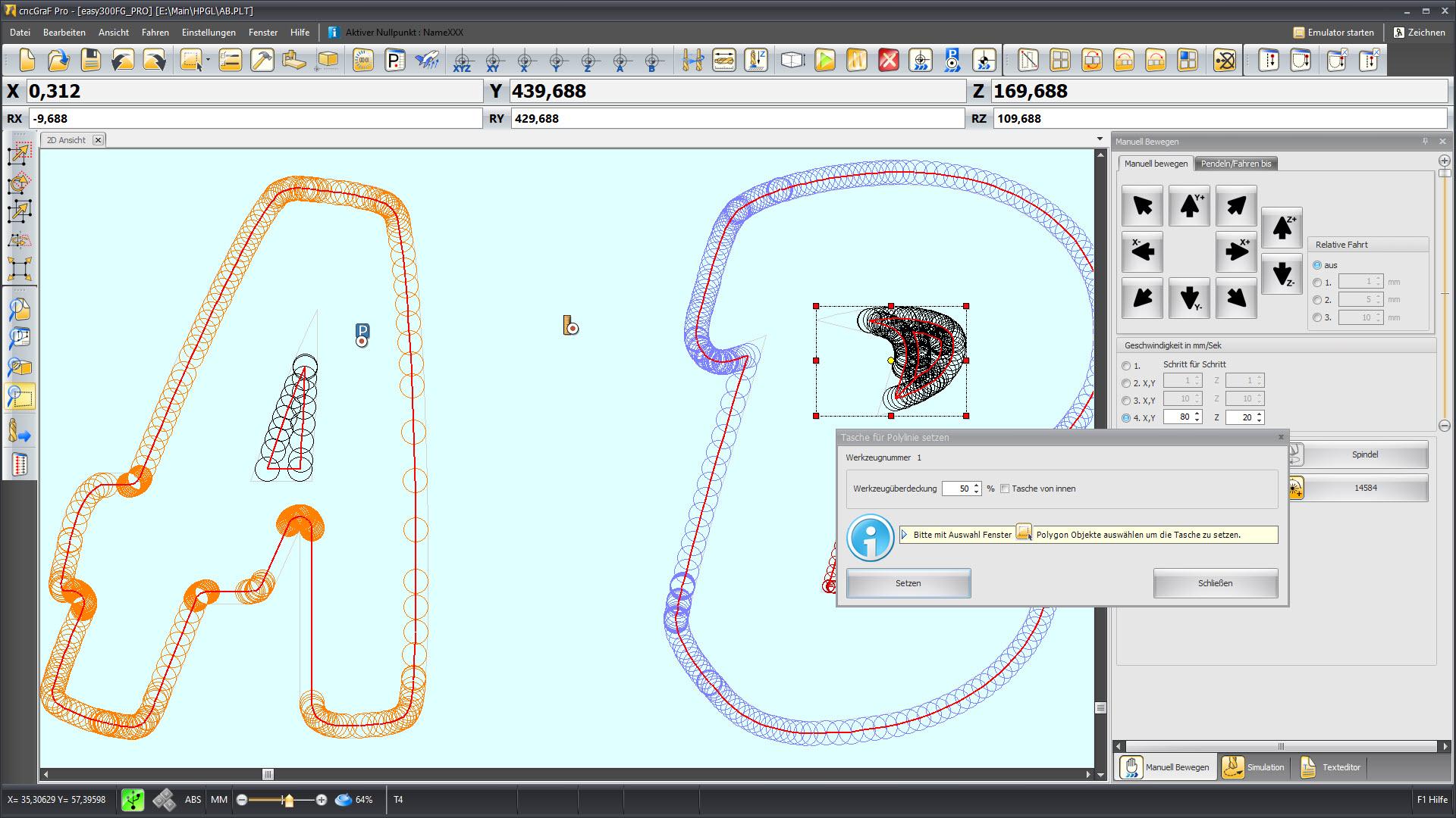 CNC Steuerungssoftware - cncGraF - Werkzeugkorrektur