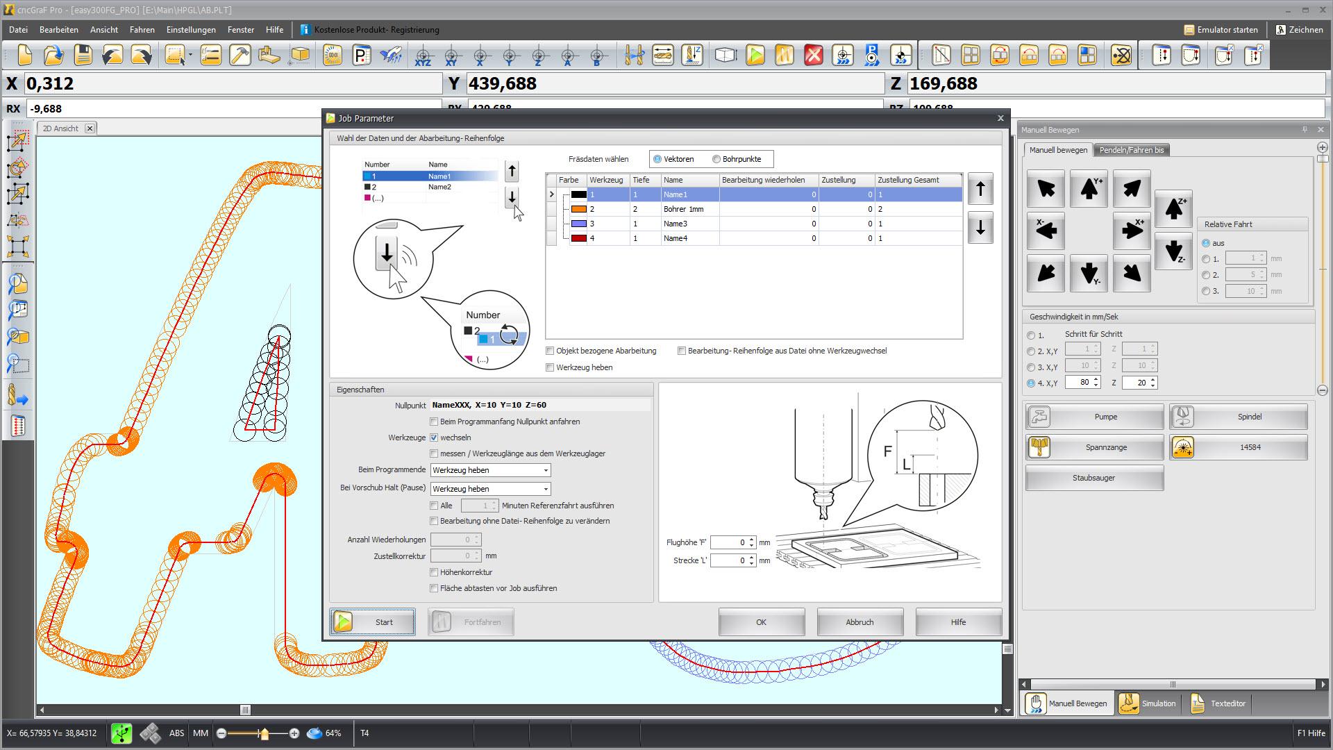 CNC Steuerungssoftware - cncGraF - Fräs- Parameter