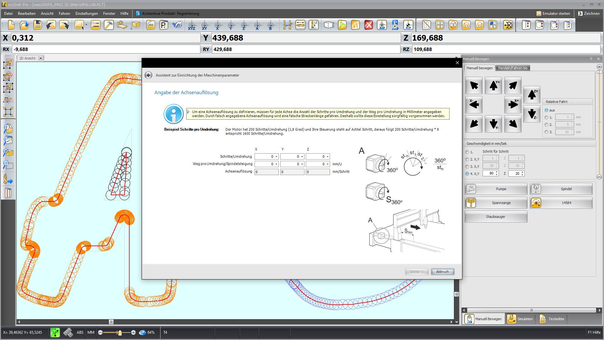 CNC Steuerungssoftware - cncGraF - Assistent zum Einrichten der CNC Maschine