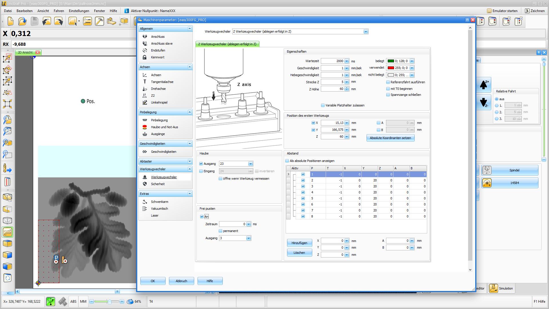 CNC Steuerungssoftware - cncGraF - Automatischer Werkzeugwechsler
