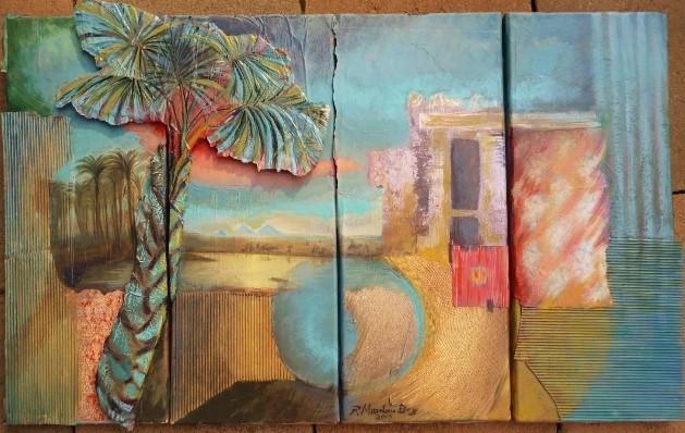 """Nostalgie"";Acryl Collage auf Leinwand; 4 Teile 80 x 45 cm"