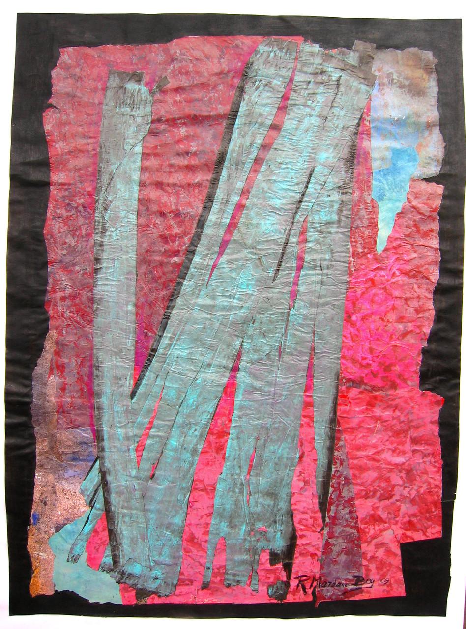 """""""Aqua"""";Acryl Collage auf papier;50 x 70 cm"""